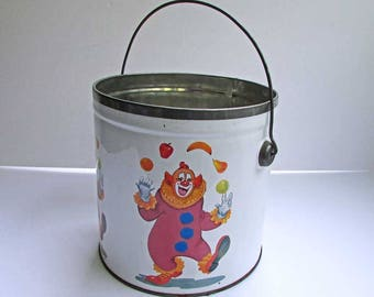 Vintage Tin Bail Handle Pail, Bucket with Happy Face Clown Juggling Fruit, 1980's Tin, Supplies Pail, Workshop Organizer, Child's Room Decor