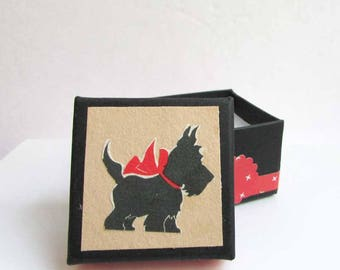 Gift Box, Ring Box, Trinket Box, Jewelry Box, Keepsake Box, Handmade Decorated Box, Vintage Papers Box, Vintage  Scottie Dog with Red Bow