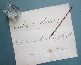 Antique 1823 Ink on Laid Paper Student Handwriting Lesson, Theorem, Novelty is Pleasing, Original Dated Handwritten Page,  Penmanship Lesson