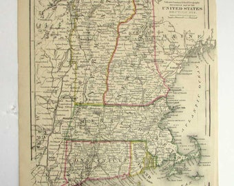 antique 1873 new england states us map with hand colored accents original colton school geography