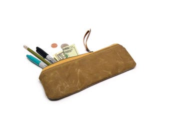 pencil case • waxed canvas zipper pouch • pencil pouch - light brown waxed canvas - gifts under 25 - simple pencil case - mens pencil case