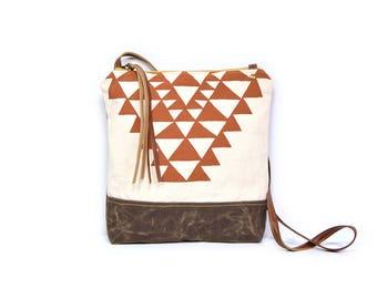 weekdayer • crossbody bag - geometric print • red orange geometric print - screenprint - waxed canvas - triangles - iPad bag - boho style