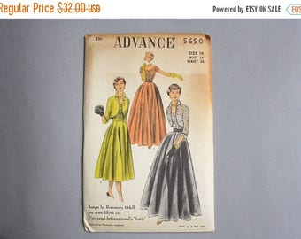 STOREWIDE SALE Vintage Sewing Pattern / 1950s Advance Pattern Rosemary Odell for Ann Blyth / Uncut Dress Pattern 5650 waist 28 medium FF fac