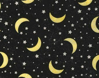 Moon and Stars Yellow Black Timeless Treasures fabric 1 yard