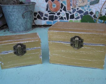 """Gold """"Shabby Chic"""" Wooden Jewelry Box + Small One As A Gift"""