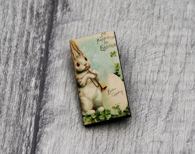 Easter Brooch, Rabbit Brooch, Wood Jewelry, Animal Brooch, Spring Jewelry