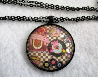 Retro JUKEBOX & Records Rock N Roll Cabochon PENDANT Necklace