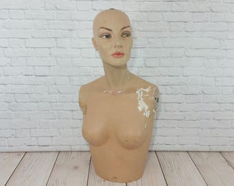 Vintage Table Top Female Mannequin Torso Bust With Head