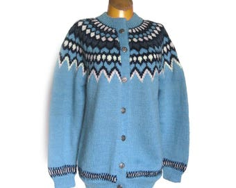 Vintage Scandinavian Sweater / Blue Wool Cardigan / Ski Sweater / Dale of Norway / Pure Wool Sweater / Hand Knit Sweater / Apris / Size 42