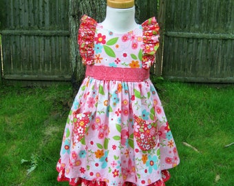 Toddler girl ruffled dress, Size 3T, Pink flowers, full twirly skirt, Shoulder ruffles, Ready to ship, Party dress, Birthday, Mod floral