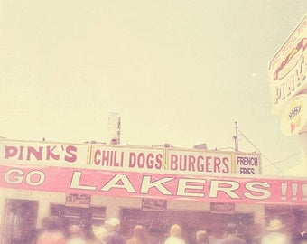 SALE Los Angeles photography, LA Lakers basketball fans, Pink's, hot dog stand Hollywood California travel, for him, sports lovers gift