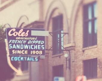 Coles DTLA, Los Angeles photography, downtown LA bar sign, cocktails, architecture historic, nightlife PE building photo loft deco