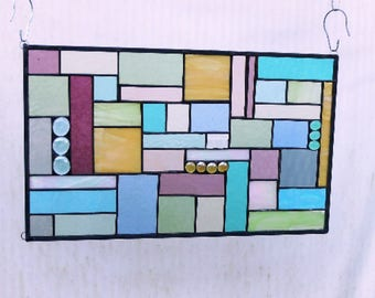 Patchwork Quilt Stained Glass Panel, Stained Glass Transom, Window Treatment, Glass Window Valance, OOAK Glass Art in Pastels and Textures