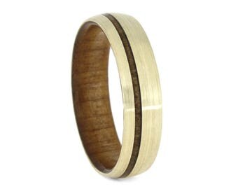 Kauri Wood Wedding Band, Brushed 10k Yellow Gold Ring With Wood Sleeve and Pinstripe, Unisex Jewelry