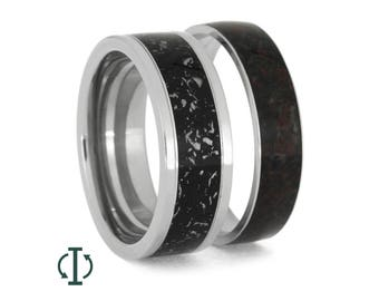 Interchangeable Stardust Ring, Crushed Dinosaur Bone Wedding Band In Titanium, Mix And Match Rings