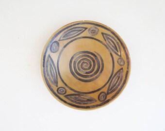 Primitive Ceramic Bowl  // Rustic Southwestern Shallow Decorative Bowl // Vintage Home Decor