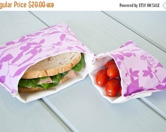 ON SALE PLASTIC-Free Purple Orchid Whispering Grass Sandwich and Snack Bags, Reusable, Organic Cotton, Eco Friendly - Set of 2