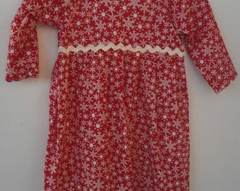 CHRISTMAS Nightgown in red and white - Long sleeves