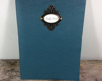 Turquoise Leather Baby Book Journal by Binding Bee Indianapolis, Indiana
