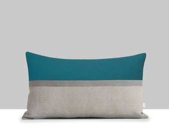 Teal Horizon Line Pillow Cover with Stone Grey & Natural Stripes by JillianReneDecor, Autumn Home Decor, Fall, Lumbar Pillow, Biscay Bay
