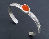 Carnelian Stacking Cuff, sterling silver, rose cut, cuff bracelet, adjustable, michele grady, carnelian bracelet, carnelian cuff, orange