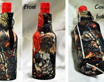 2 Custom photo cozies insulated beer soda 12 oz. bottle cozy wrap with zipper hunting camp birthday bride wedding kids pets monograms logo