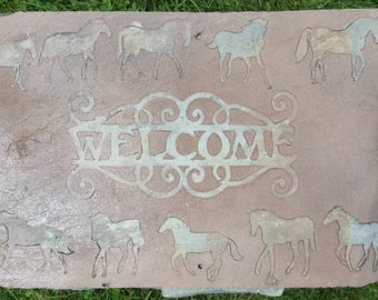 Welcome Slate Horse Sign, Vintage barn slate, original nail holes, leather like look painted background with multiple horses in border,