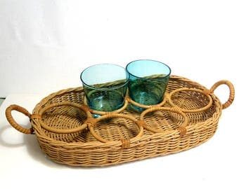 Vintage Wicker Drink ServingTray/ Boho Cocktail Caddy Woven Basket/ British Hong Kong