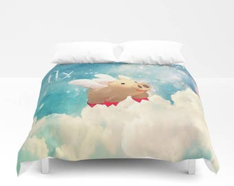 When Pigs Fly Duvet Cover, Made to Order, Humor, Eye Candy, Decorative, Flying Pig Bedding, Unique Design, Comforter Cover, Cloud Sky, Dorm