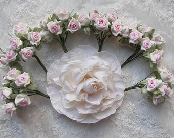 30pc Chic Ivory Polymer Clay PINK Satin Ribbon Wired Rose Flower Applique Embellishment