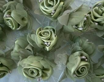 18 pc Chic GREEN Satin Organza Ribbon Wired Rose Peony Flower Reborn Doll Bridal Wedding Bow Hair Accessory Applique