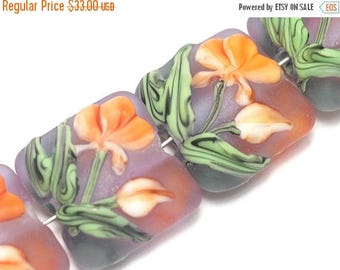 ON SALE 35% OFF Glass Lampwork Bead Set - Four Orange Frosted Glass Pillow Beads 10603614