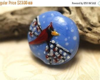 ON SALE 30% off Winter Red Cardinal Lentil Focal Bead - Handmade Glass Lampwork Bead 11833202