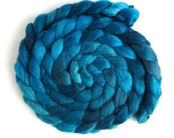 Polwarth/Silk Roving - Handpainted Spinning or Felting Fiber, Aqua Dusk