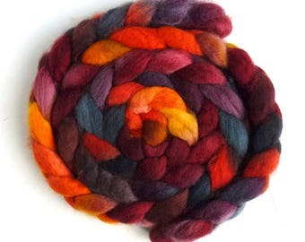 BFL Wool Roving - Hand Painted Spinning or Felting Fiber, Sloss Furnace