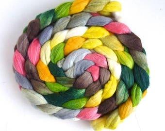 Spring Lamb, Polwarth/Silk Roving - Handpainted Spinning or Felting Fiber