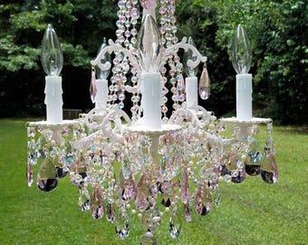 Sold - Antique Petite Chandelier, Pink Chandelier, Princess Chandelier, Small Crystal Chandelier, Vintage Lighting