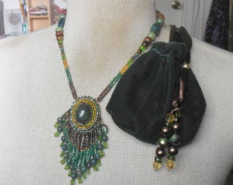Beaded Bloodstone Necklace with Beaded Moss Agate Tassels Bloodstone Rain Forest Jasper Tiger Eye Jade Semiprecious Stone Gemstone Beads