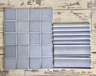Vintage Tile Latco Periwinkle Blue Square Border Bullnose Mosaic or Home Repair 2 inch Squares