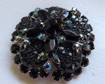 Vintage Juliana D & E style jet black and ab rhinestone fancy daisy cabochon brooch or pin silver tone layered dimensional