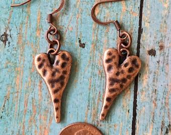 HEART Earrings Copper Pewter Hammered Dangle Pierced