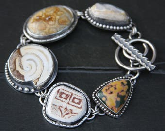 RESERVED for Lisa oOo fossil shell, fossil coral, beach pottery, ocean jasper, and sterling silver metalwork link bracelet