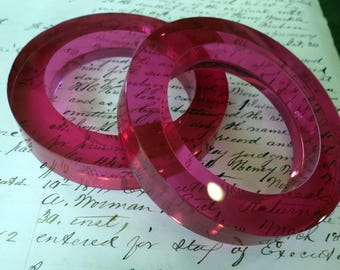 Pink Luciite Wide Bracelets - Pair Fuschia