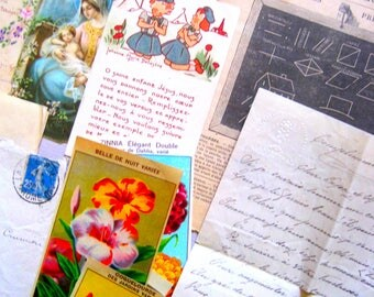 Antique French Ephemera Bundle,Religious Papers, Musical, Seed Labels, Old School Books, Envelope, Post Card, Mixed Media/Junk Journal, Art