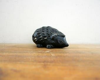 vintage 70s Carved Figural Hedgehog Hedgie Figurine // Retro Woodland Creature