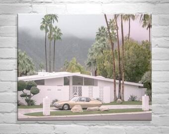 Mid Century Wall Art, Mid Century Architecture, Palm Springs Print, Palm Springs Art, Citroen, Canvas Art Print, Giclee Canvas, Gift