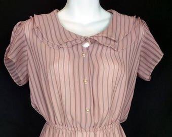 ON SALE Pink Black Stripe Sheer Dress 7/8 S
