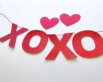 XOXO Mini Banner- Hugs and Kisses Garland- Valentines Bunting- Love Garland - Anniversary Garland -Bridal Shower - Wedding Decor - prop