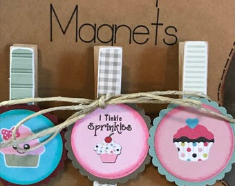 Fun Yummy Cupcake Clothespin Magnets