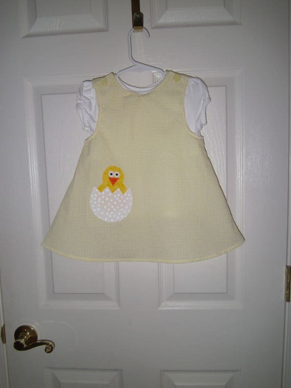 Yellow Easter Egg Chick Dress, Handmade Dress, Easter Jumper,Baby Easter Dress, Appliqued  Dress, Toddler Easter Jumper, Easter Girls Outfit